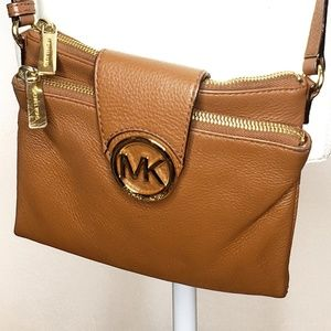 Michael Kors Leather Crossbody Acorn Brown Pebble